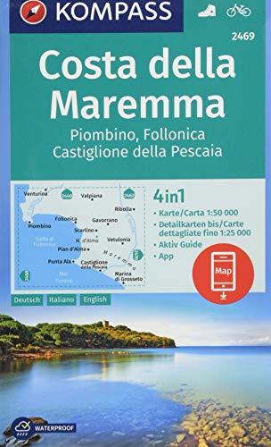 KOMPASS Wanderkarte Costa della Maremma, Piombino, Follonica, Castiglione della Pescaia: 4in1 Wanderkarte 1:50000 mit Aktiv Guide und Detailkarten ... (KOMPASS-Wanderkarten, Band 2469)