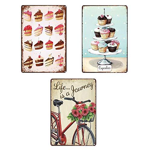 Blechschilder Retro Küche Schokolade Cupcake Metall Blechschild Rakete Eis Poster Cupcake Deko Lebensmittel Platte Für Home Cafe Bar Dekoration 7.87 X 11.8 inches,a -