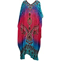Mogul Interior Caftan Dresses Pink Boho Tribal Print Beach Cover Up One Size