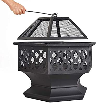 Dawoo Large 6-angle Brazier Outdoor Garden Heater Bronze Fire Pit Charcoal Burning Fire Bowl 60 Cm Wide 62 Cm High by Dawoo