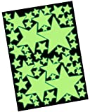 50 Leuchtende Sterne Set XL - Wandtattoo Leuchtsterne Fluoreszierend, Wandsticker Nachtleuchtend - Glow im Dunkeln, Leuchtaufkleber, Sternenhimmel Wandaufkleber - Selbstleuchtend hohe Leuchtkraft