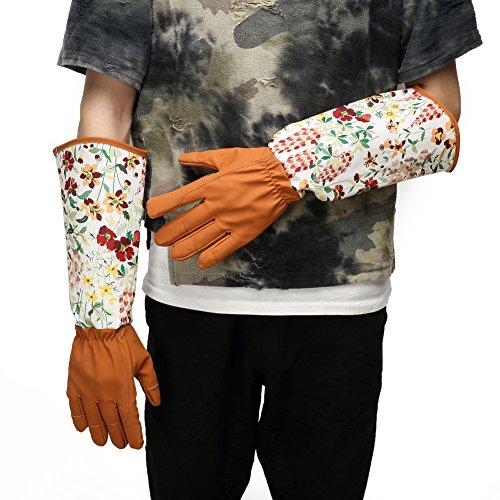 Professionelle Beschneiden Thornproof Gartenhandschuhe mit extra lange Unterarmschutz von deinen Armen, bis Ellbogen für Frauen - Rosen Beschneiden