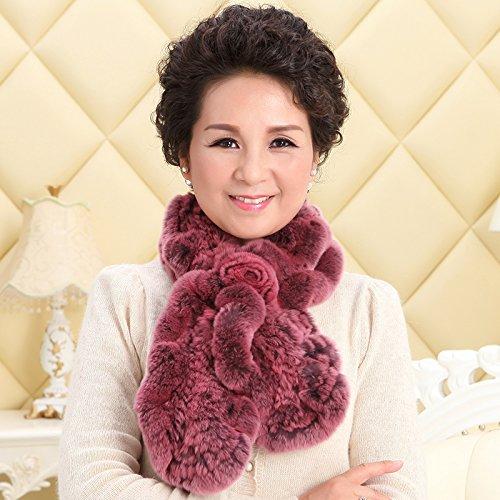feieb Bavaglia sciarpa processo e cravatta di lana Anziani pelliccia Marmitta in lana spessa e cravatta femmina inverno, un coniglio capelli viola