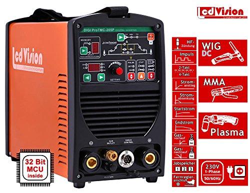 3in1 Schweißgerät DIGI Pro TMC-205P WIG TIG + E-Hand + Plasmaschneider Inverter 230V 10-200A 32-bit MCU