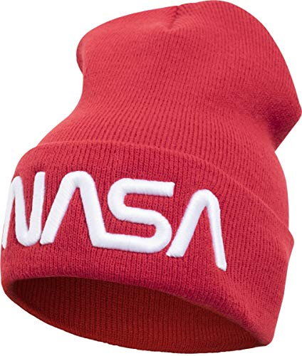 Mister Tee NASA Worm Logo Beanie Casquette Mixte, Rouge, Taille Unique
