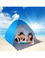 GTT al aire libre totalmente automático de pop-up Sun Shade tienda de playa, portátiles Anti UV Cabana para 2-3 personas de deportes de senderismo tienda de campaña Backpacking Beach Shelter (azul)