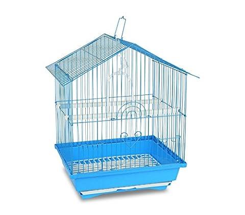 189085 Cage pour oiseaux de petite taille BIRD 43,5 x 28,5 x 22 cm Mangeoires (Bleu)