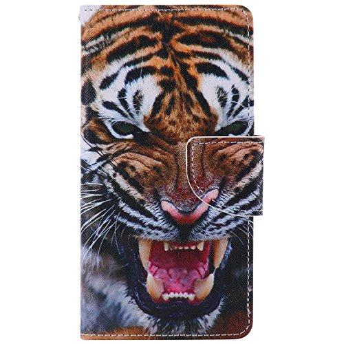 Feeltech Sony Xperia Performace Hülle [Berühren Sie Stift] Elegant PU Leder Tasche Magnetverschluss Ultra Schlanke hülle Gemalte Colour Muster Design Mit Back Cover Etui Skin Shell Purse hülle Standfu Tiger