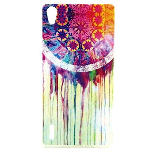 Voguecase® Huawei Ascend P7 Schutzhülle / Case / Cover / Hülle / TPU Gel Skin (Bunte Graffiti) + Gratis Universal Eingabestift