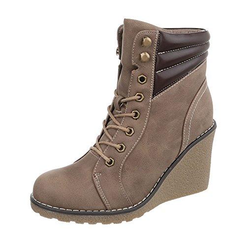 Ital-Design Keilstiefeletten Damen-Schuhe Plateau Keilabsatz/Wedge Keilabsatz Reißverschluss Stiefeletten Hellbraun, Gr 40, Zy9173-
