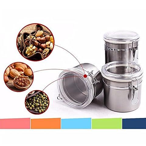 Stainless Steel Storage Bottle Kitchen Coffee Sugar Tea Storage Sealed Jar 10 * 12.5cm (990ML)