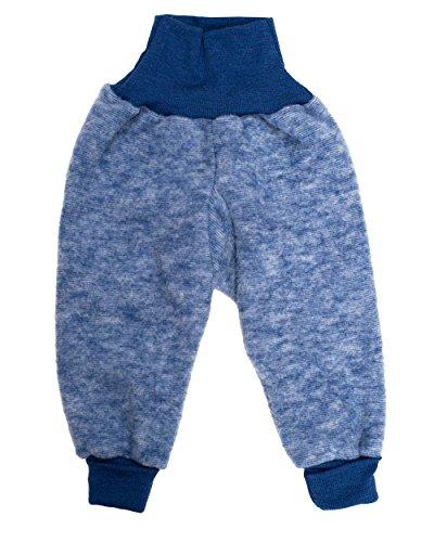 Cosilana Baby Hose mit Bund aus weichem Wollfleece, 100% Schurwolle kbT (86/92, Marine-melange) (Unter Fleece-hose)