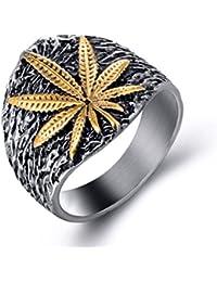 Elfasio - Anillo de Acero Inoxidable para Hombre, Diseño de Hoja de Marihuana de Cannabis