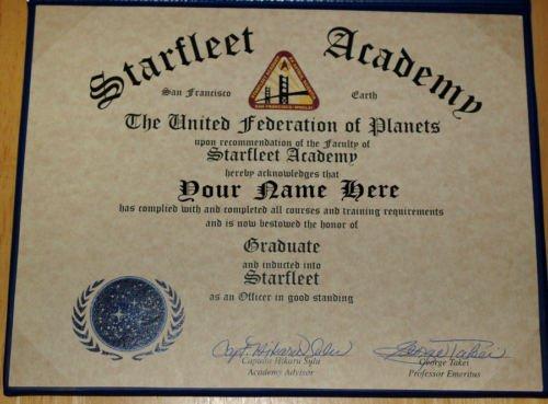 Capt Sulu Signed Star Trek Starfleet Academy Diploma