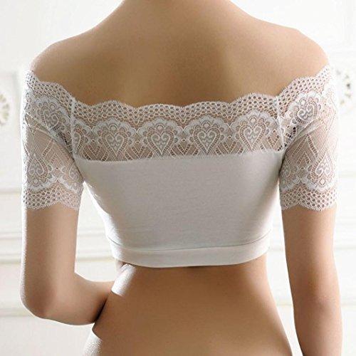 Vovotrade® Femmes Soutien-gorge RembourréSexy Top Veste Bustier avec Bordure en Dentelle Blanc