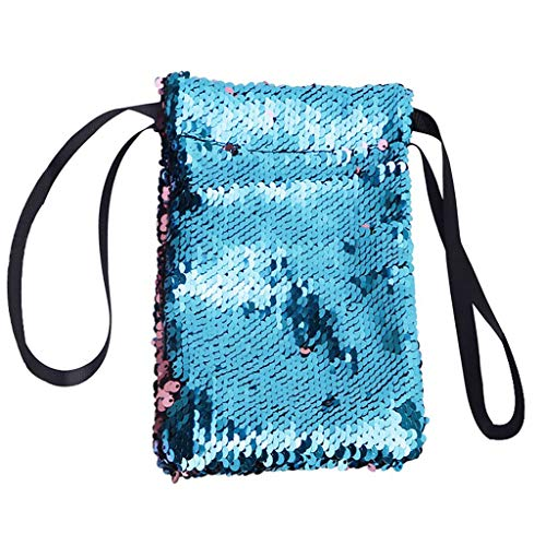 Herren- und Damen Mode Pailletten Stitching Farbe Kontrast Farbe Bündel Geldbörse Handytasche Schlüssel Tasche Kartensätze Aufbewahrungstasche Bling Wallet Kartenhalter (D)