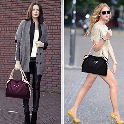 Aisi estremamente elegante borsa Shine Pure Color Borsa importati Nylon impermeabile borsa a tracolla per donna, Black (nero) - kb-21 Navy blue