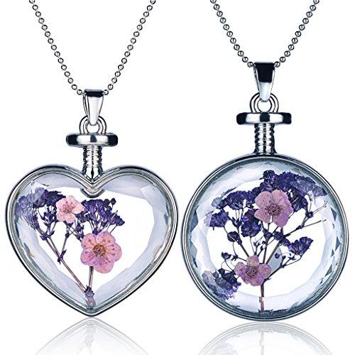 Yumilok Mehrfarbige Trockene Blumen Transparent Herz/Rund Anhänger Halskette Legierung Glas Flasche Kettenänhanger für Damen Mädchen (Multi-B) (Glas Flasche Anhänger Halskette)