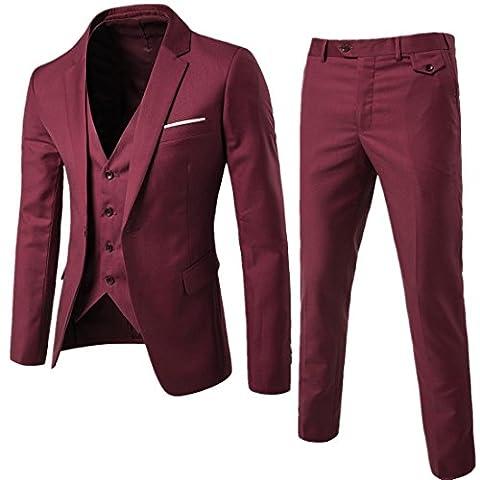 Harrms Hommes Costume Matière ultra-mince flexible trois pièces blazer + gilet + pantalon mince réunion ,mariage ,partie, Bordeaux, 48