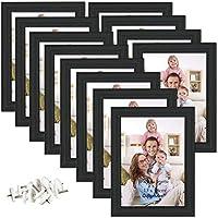 Giftgarden Bilderrahmen 13x18 Schwarz Holz mit Glasscheibe 12er Set Fotorahmen mehrere Bilder Geschenk Friends