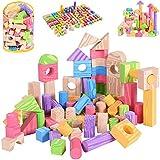 Spielwerk 100 Bunte Bauklötze Schaumstoff Holzdesign Bausteine weiches Material inkl Aufbewahrungstasche Kinderspielzeug