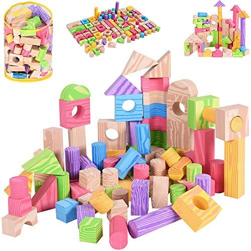 *Spielwerk 100 Bunte Bauklötze Schaumstoff Holzdesign Bausteine weiches Material inkl Aufbewahrungstasche Kinderspielzeug*