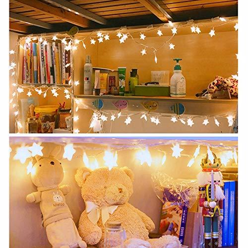 10 Leds Globe Lichterkette 2 Meter, TIREOW Kugel Lichter Pentagramm Licht, Batteriebetriebene für Party, Weihnanchten, Geburtstag, Hochzeit, Garten, Wohnzimmer, Terrasse (Gelb)