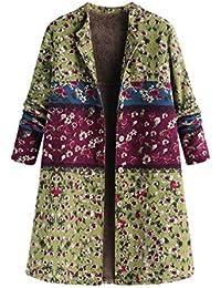 0844f8653c01 FNKDOR Manteau Femme Automne Hiver Grande Taille Vintage Veste à Fleurs  Imprimées épais Mode Parka Blouson