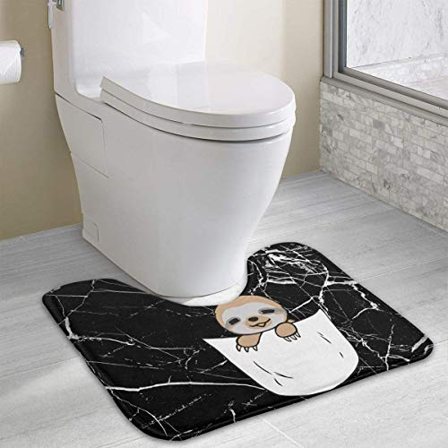 Hoklcvd Pocket Sloth U-Shaped Toilet Floor Rug Non-Slip Toilet Carpets Bath Mats Rug (Dodger Gnome)