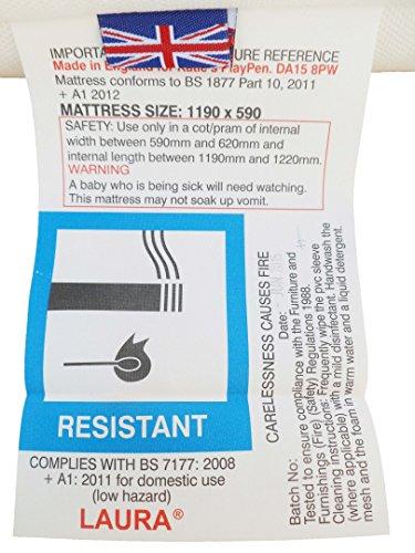 LAURA 119x59cm Baby Travel Cot Mattress : British Made With High Grade Density Foam CMHR28