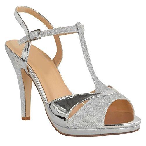 Heelberry donna scarpe eleganti da cerimonia da donna medio tacchi alti sposa luccicante sandali taglia nuovo - argento metallizzato, 39