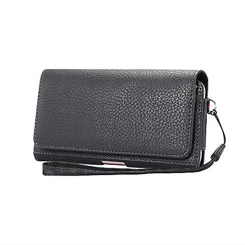 Lordwey® Universelle 5.7-6.0inch Housse de pochette de ceinture de téléphone, Housses et étuis téléphones horizontal de portefeuille en cuir PU pour Samsung S8 Plus/Huawei Mate8/iPhone 7 Plus -noir
