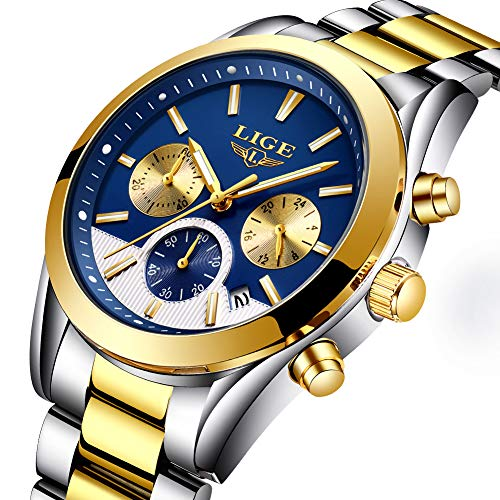 Herren Uhren Quartz 30 M Wasserdichtes, Lässige Chronograph Uhren, Business Uhren Kalender, Stoppuhr Gold
