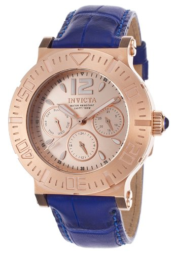 Invicta Women's 40mm Blue Alligator Leather Band Steel Case S. Sapphire Quartz Rose Dial Watch 14921