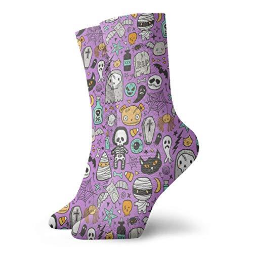 Huabuqi Lustige Halloween Doodle Frauensocken mit Totenköpfen, Spinnen, Skelett, Fledermaus, Fantasy, Leinwand, Zombies auf purple_4120, Anti-Schuppenfarbe für Männer 100% Baumwolle, Einheitsgröße.