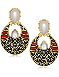 Mithya Gold Plated Drop Earrings for Women (AAA0250_Black)