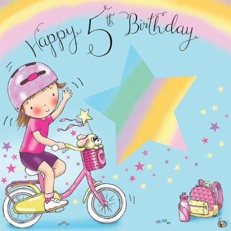 Twizler Biglietto Di Auguri Per Bambina Per Il 5 Compleanno