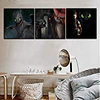 wangpdp Canvas Wall Art Pictures Home Decor 3 Piece/1Pcs Hiccup And Toothless Friend Poster Movie How To Train Your Dragon 2 Painting
