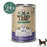 Wildes Land | Nassfutter für Hunde | Nr. 7 Wild | 24 x 400 g | mit Kürbis, Preiselbeeren, Wildkräutern & Distelöl | Glutenfrei | Extra viel Fleisch | Beste Akzeptanz und Verträglichkeit