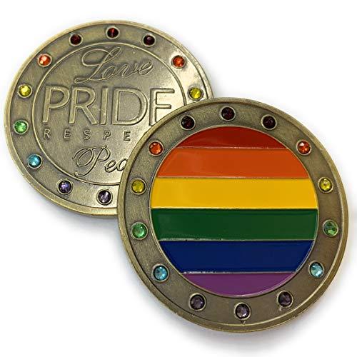 Aizics Mint LGTBQ Pride Token - Love - Respect - Peace - Schönes Regenbogen-Design mit bunten Edelsteinen - Sammlerstück -