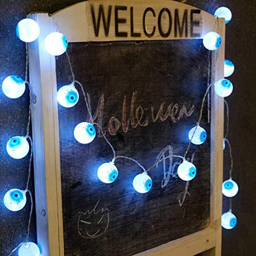 (Lichterkette,Transwen LED Halloween Kreative DIY Handarbeit Augen-Kugel Form Dekorative Atmosphäre Lampe Weihnachten Dekoration für Garten (Blau))
