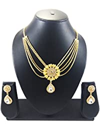 Luxaim Latest Morden Floral Design Multistrand Chain With Drop Crystal Gold-Plated Traditional Necklace Set With...