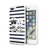 Karl Lagerfeld Striped Graphic Hard Cell Phone Case for iPhone 8 Plus/7 Plus - White