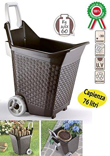 Chariot à bois Marron Porte colis bois feuilles dépenses avec roues et poignée pour maison jardin 100% MADE IN ITALY