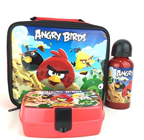 Angry Birds Boys Lunch-Tasche Aluminium Wasser Flasche Sandwich Box 3-Teiliges Set New (Aluminium-lunch-boxen Kinder Für)