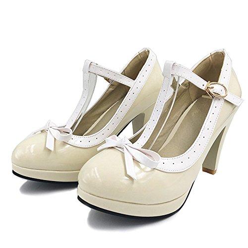 TAOFFEN Damen Elegant Hoch Absatz Party Pumps T-Spange Solid Schuhe Beige
