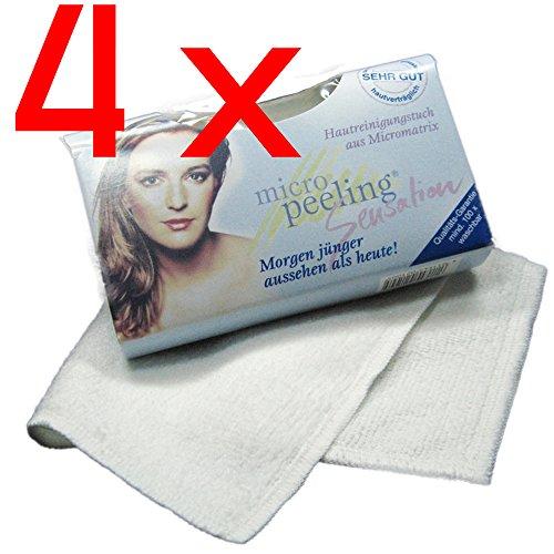 4 x Micro Peeling Sensation Gesichtsreinigungstuch | 25 x 30 cm | weiß - Sieht Das Augen Make-up Entferner