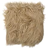 #8: Faux Flokati Fur Photography Posing Floor Prop Basket Stuffer Blanket 19x33 Light Brown