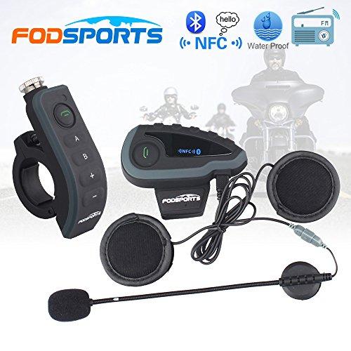 Fodsports Casque la Communication Syst/èmes Kit Mains Libres Bluetooth 3.0 pour Moto /étanche avec T/él/écommande de Guidon et Radio FM NFC 1200M