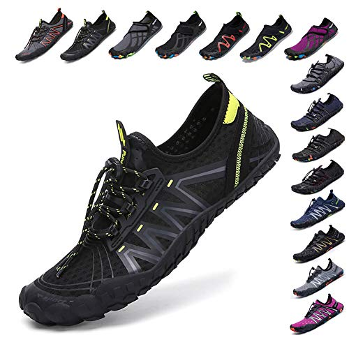 SCIEU Mens Womens Water Shoes Quick Dry Barefoot Aqua Shoes for Swim Surfing Diving Boating Driving Yoga Beach Black Darkgray 11uk (Black Womens Shoes)